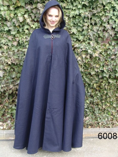 Wool cape Hero with wolf buckle length 160 cm Blue