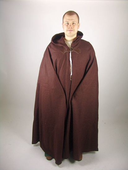 Wool cape Hero with wolf buckle length 160 cm brown