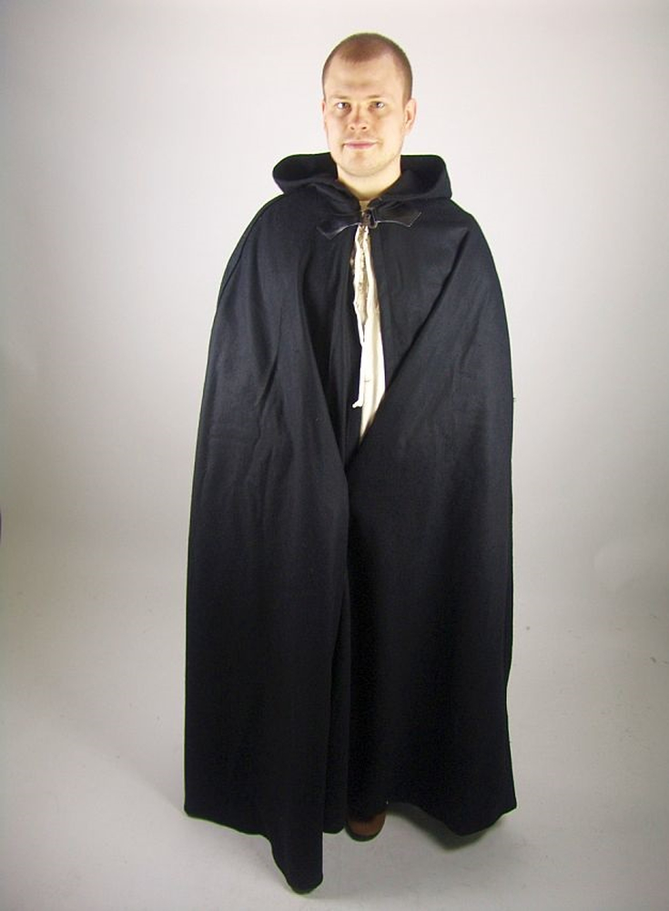 Wool cape Hero with wolf buckle length 160 cm Black