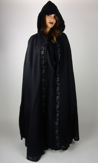 Wool cape with embroidery Marta Length 160 cm Black