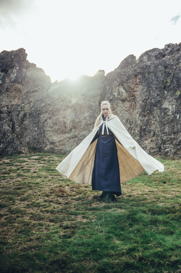 Wool cape with embroidery Alma Natural