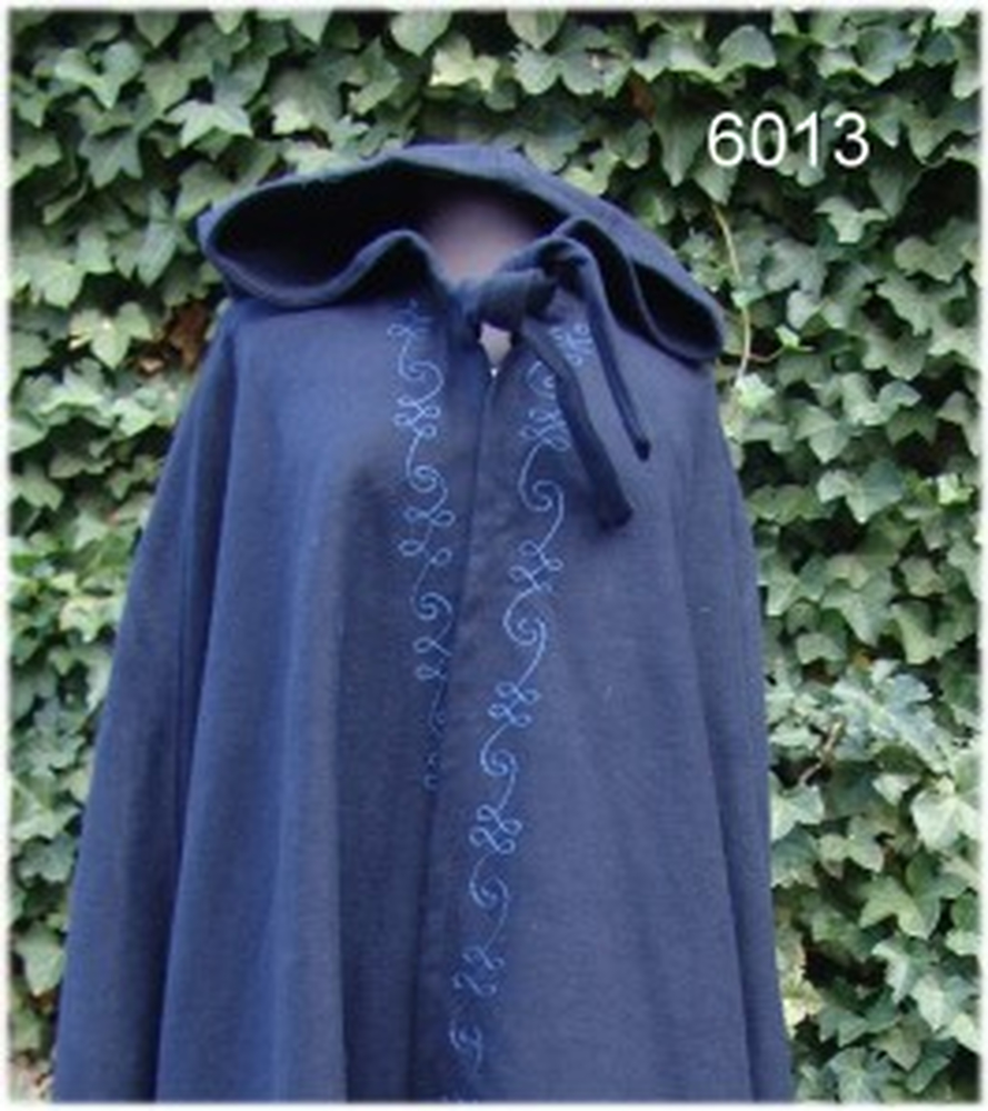 Wool cape with embroidery Alma Blue