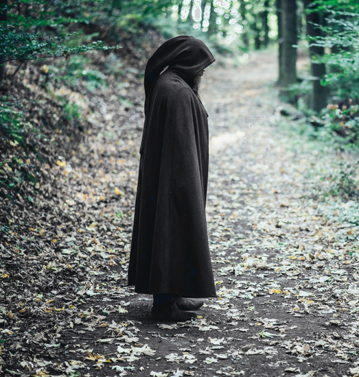 Woollen cape with long hood Raik Length 160 cm Black