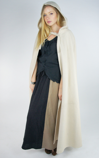 Wool cape with long hood Hervir Natural