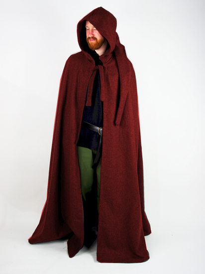 Wool cape with long hood Hervir Red