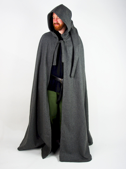 Wool cape with long hood Hervir Grey