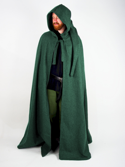 Wool cape with long hood Hervir Green