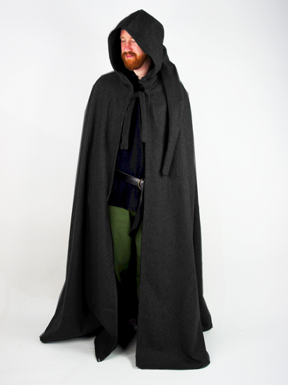 Wool cape with long hood Hervir Black