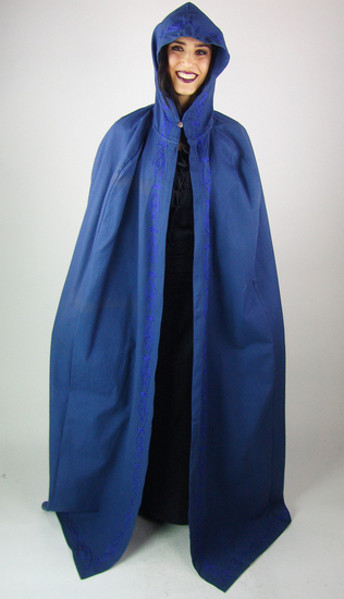 Medieval cape with embroidery Erna Blue