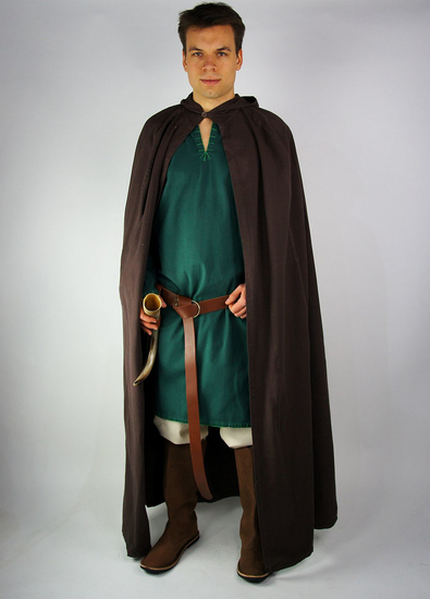 Medieval cotton cape Gunnar Dark brown