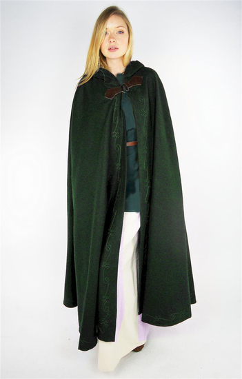 Cape with embroidery and brooch Gesa Green