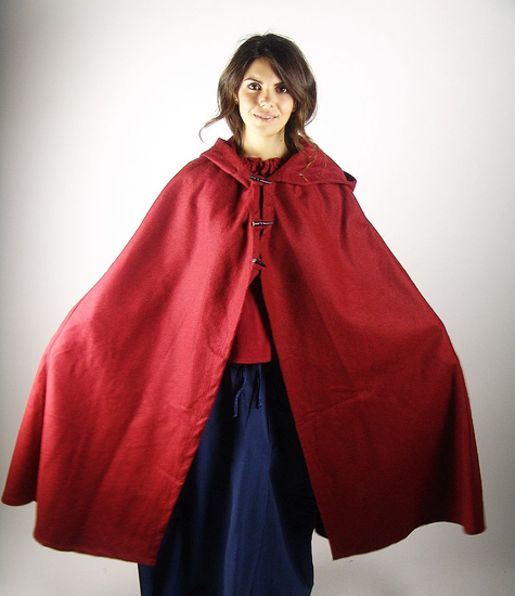 Ladies cape with long buttons Marie Red