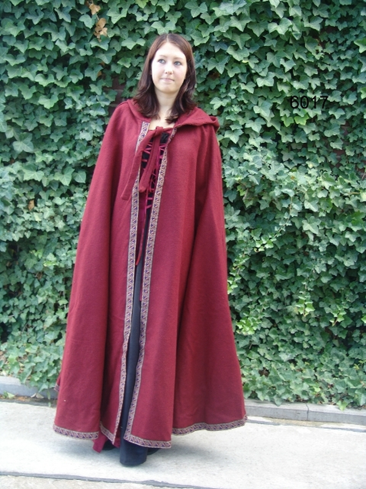 Wool cape with border Stefan