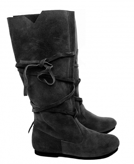 019 Medieval suede boots- black