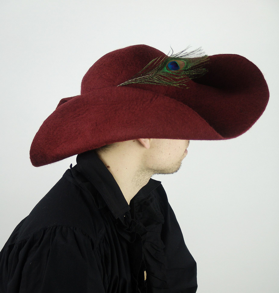 Wool felt hat with feather Pieter Red