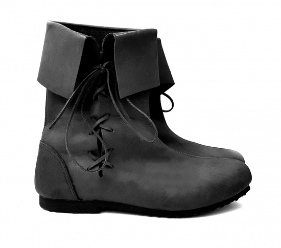 008 Medieval boot top boot made of nubuck leather- black