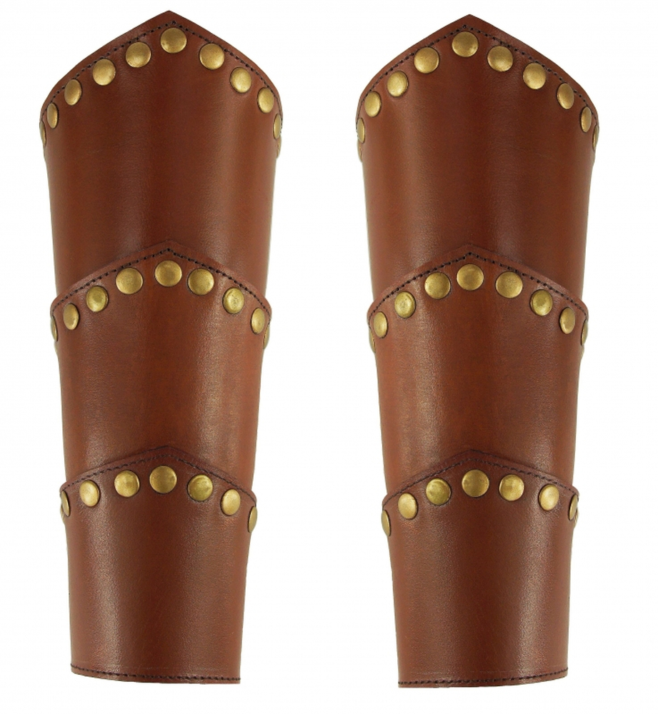 1259 Leather bangle Arn with rivets - brown