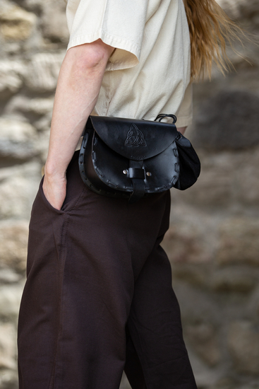Leather belt bag Erin with celtic embossing Black