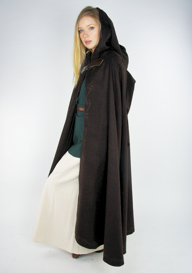 cape with embroidery and brooch Gesa brown