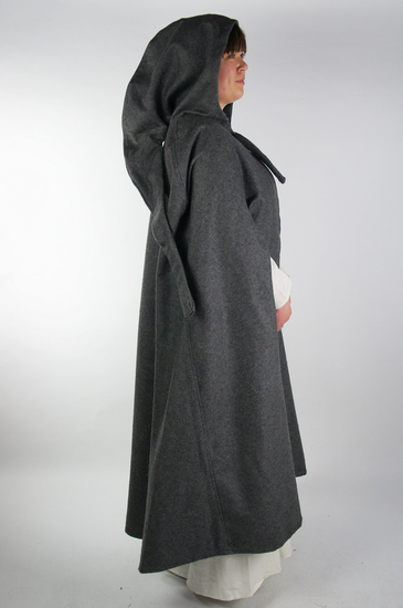 Wool cape with arm slits Frank Grey