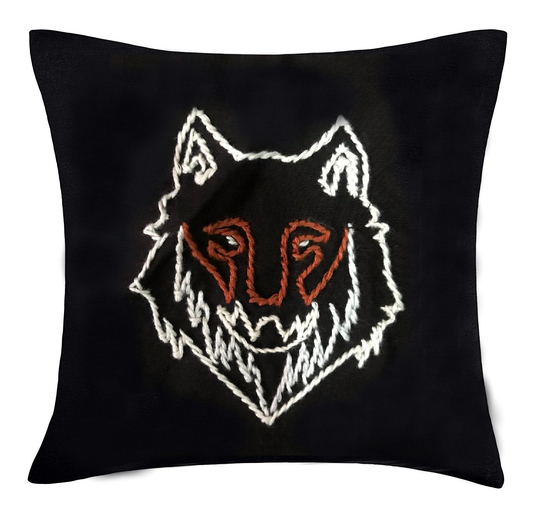 Pillow case Geri with hand embroideRed wolf