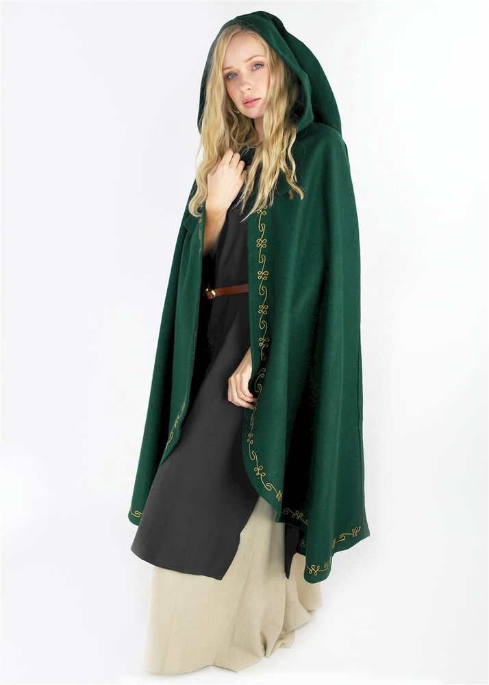 Wool cape Ásidís with hand embroidery green