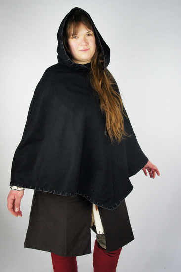 Viking Gugel Egill with embroidery black