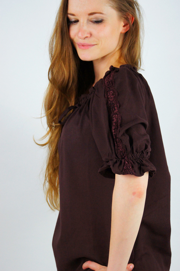 Medieval short sleeve blouse Sandra Dark brown