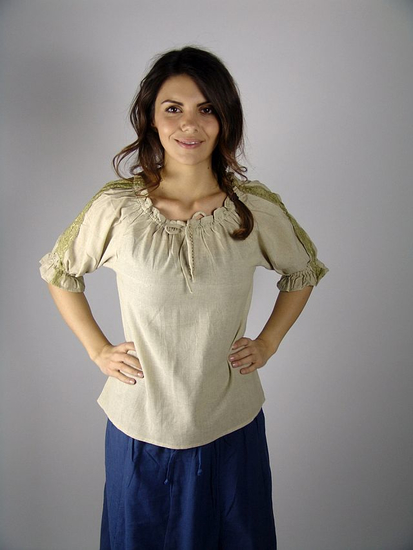 Medieval short sleeve blouse Sandra Hemp