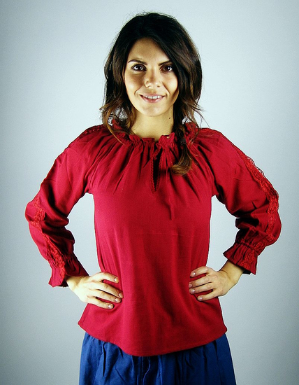 Medieval blouse with lace Bettina Red