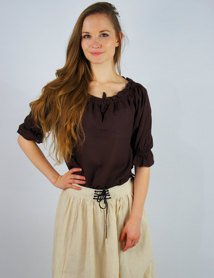 Medieval short sleeve blouse Vera Dark brown