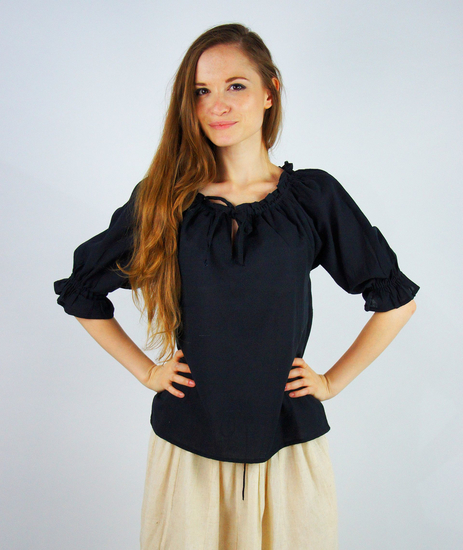 Medieval short sleeve blouse Vera Black
