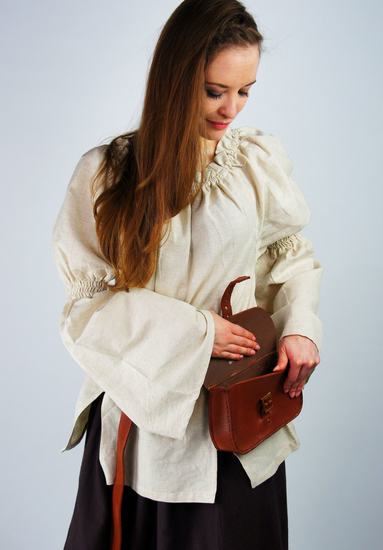 Classic medieval cotton blouse Coletta Natural