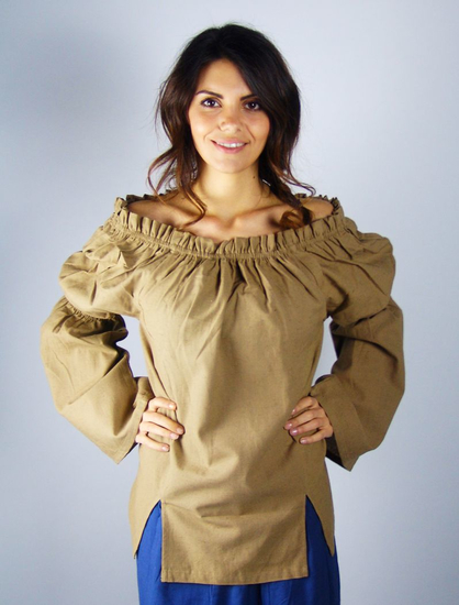 Classic medieval cotton blouse Coletta Brown