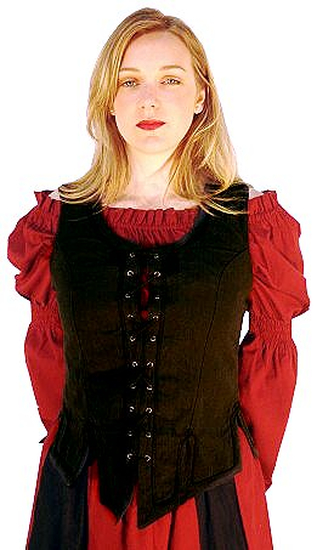 Classic medieval cotton blouse Coletta Red