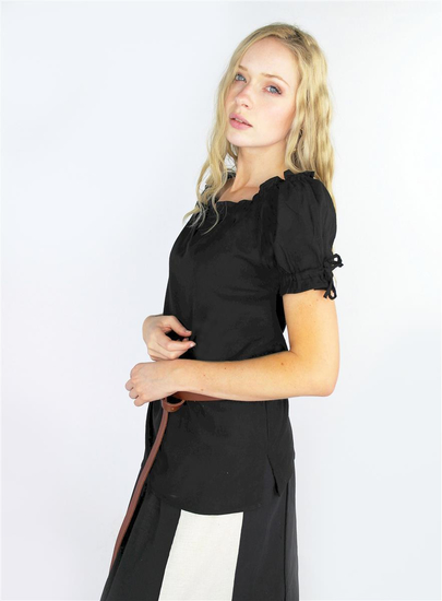 Medieval short sleeve blouse Otilia - Black