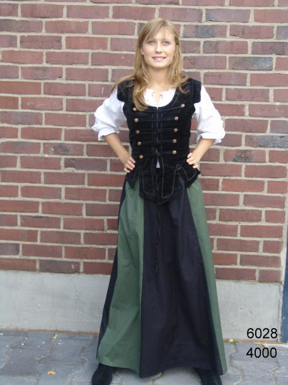 Medieval skirt Dana black/green