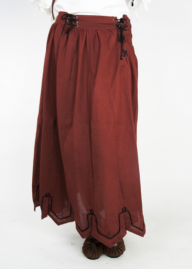 Medieval skirt with embroidery Svenja Red