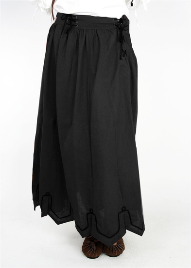 Medieval skirt with embroidery Svenja Black