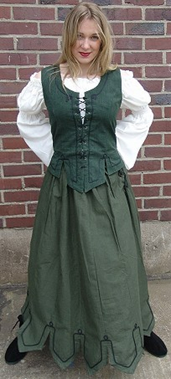 Medieval skirt with embroidery Svenja Green