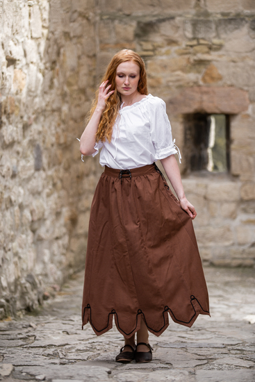 Medieval skirt with embroidery Svenja tobacco brown