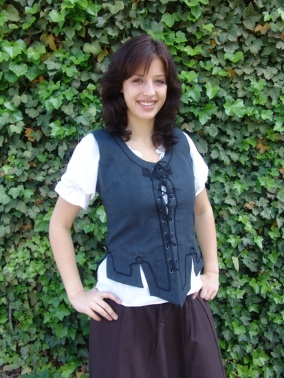 Bodice vest with embroidery Selma Blue