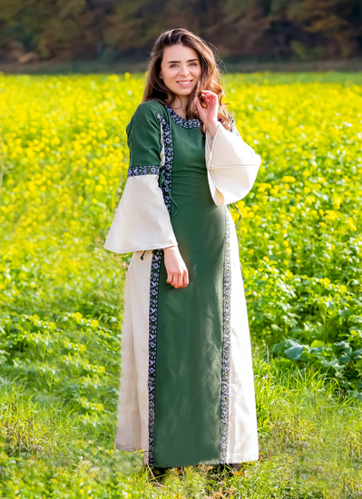 Medieval dress with border Sophie green/Natural
