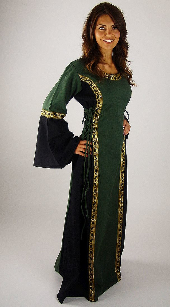Medieval dress with border Sophie green/black