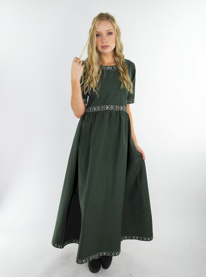 Noble short sleeve dress with border Ennlin green