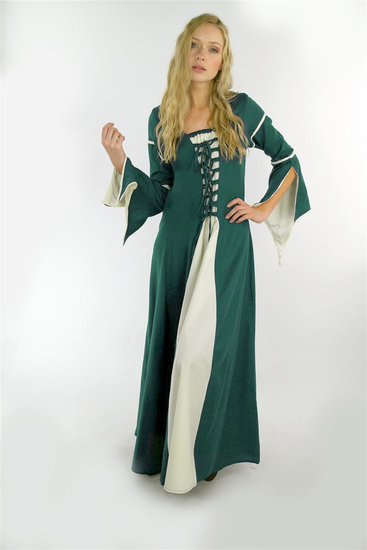Dress with trumpet sleeves Larissa Green/Natural
