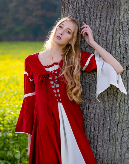 Dress with trumpet sleeves Larissa Red/Natural