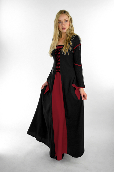 Dress with trumpet sleeves Larissa black/Red