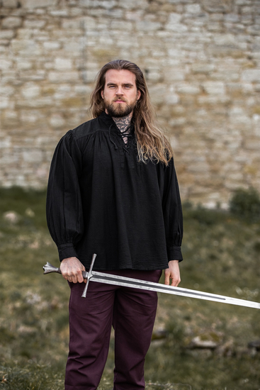 Typical medieval stand-up collar lace-up shirt Friedrich...
