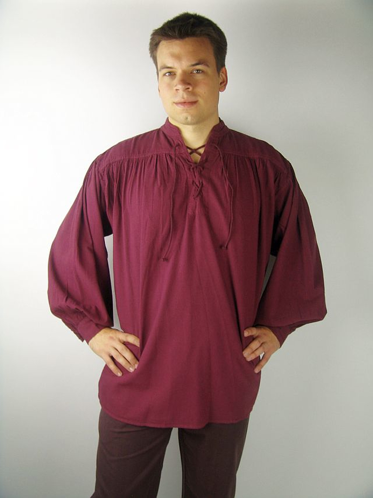 Typical medieval stand-up collar lace-up shirt Friedrich Wine Red